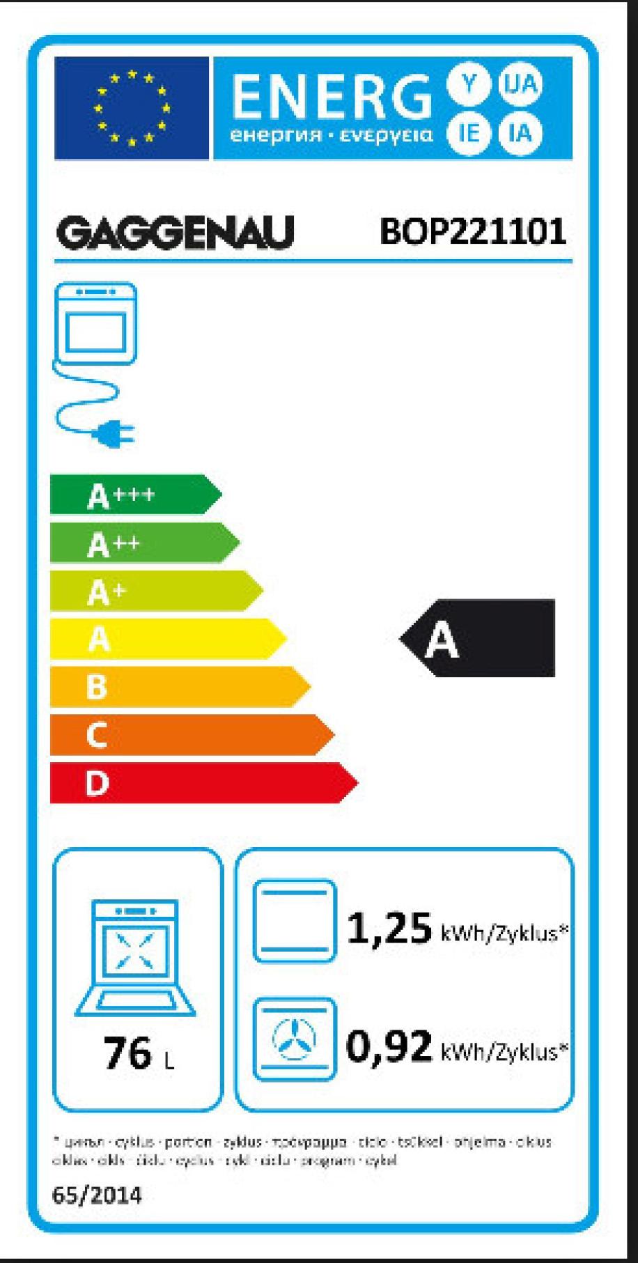 Gaggenau Energielabel