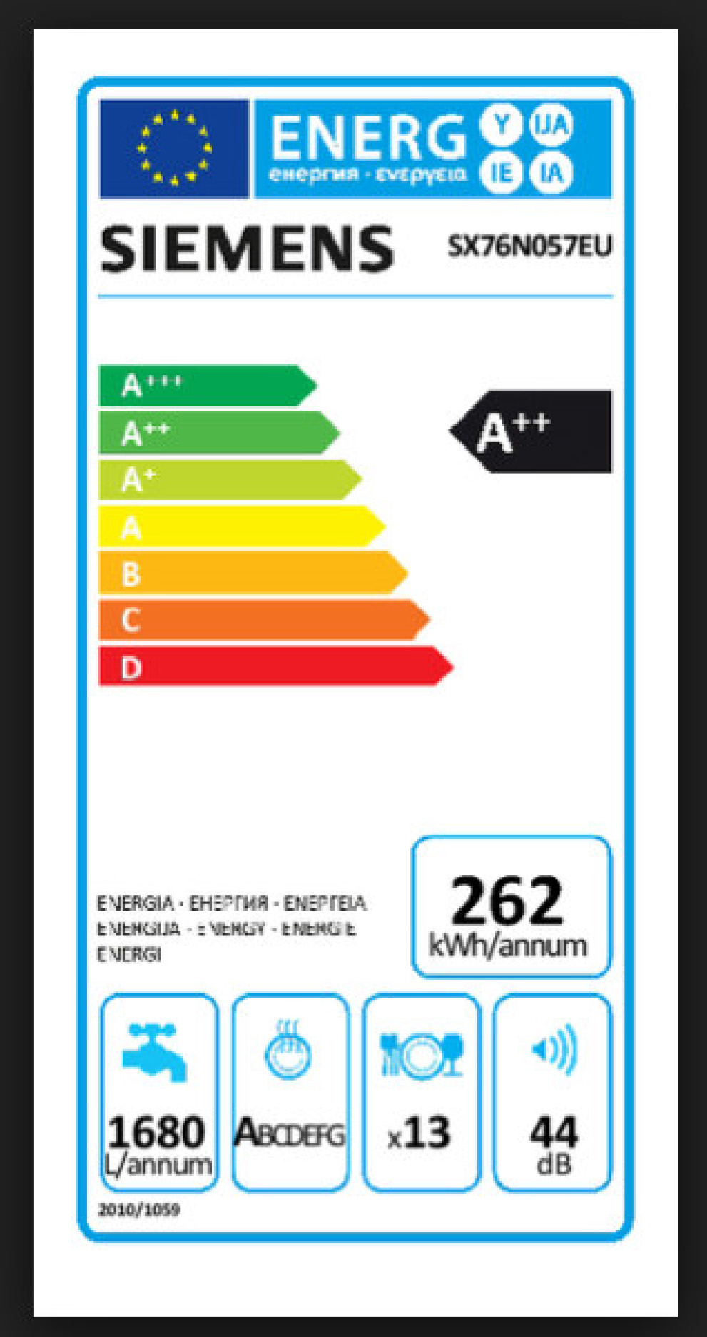 Siemens Energielabel sx76n057eu